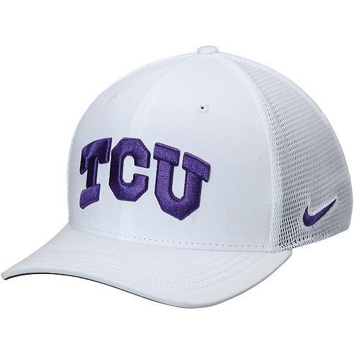 Men's Nike White TCU Horned Frogs AeroBill Classic 99 Mesh Back Performance Flex Hat