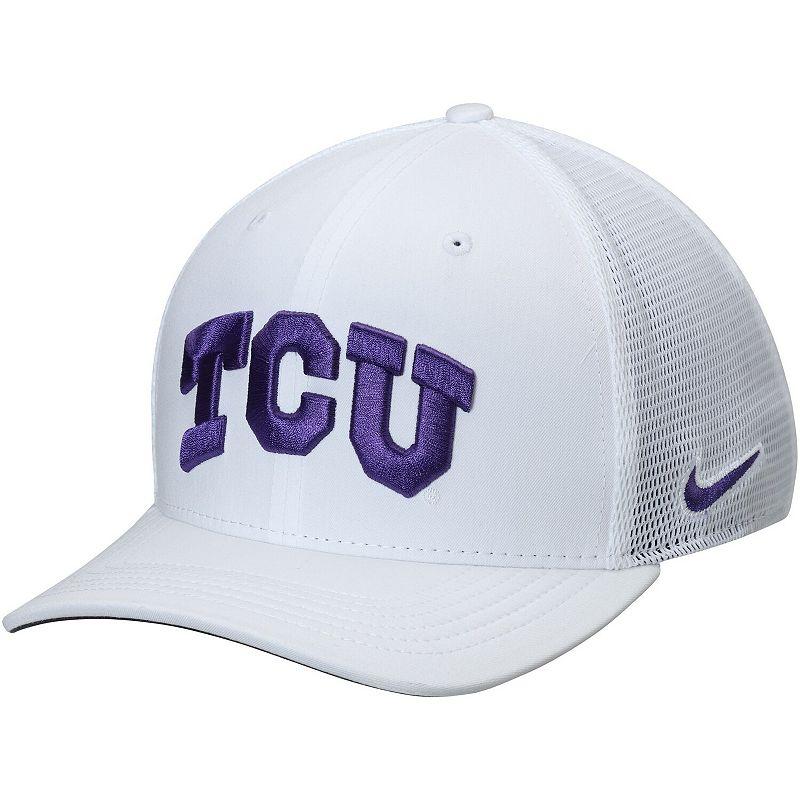 Men's Nike White TCU Horned Frogs AeroBill Classic 99 Mesh Back Performance Flex Hat, Size: Medium/Large
