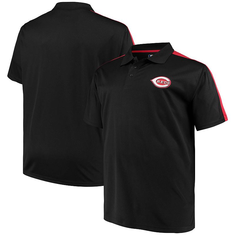 Men's Black/Red Cincinnati Reds Big & Tall 2-Tone Birdseye Polo, Size: 4XLT