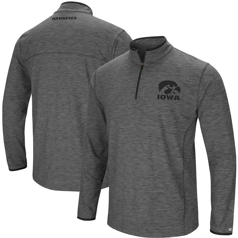 Men's Colosseum Heathered Gray Iowa Hawkeyes Big & Tall Diemert Quarter-Zip Windshirt Jacket