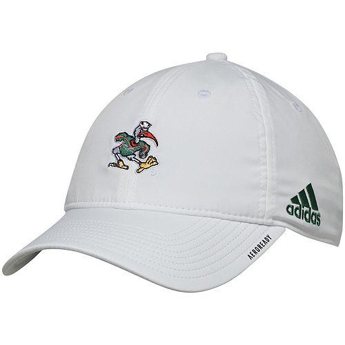 Men's adidas White Miami Hurricanes Primary Logo AEROREADY Adjustable Hat