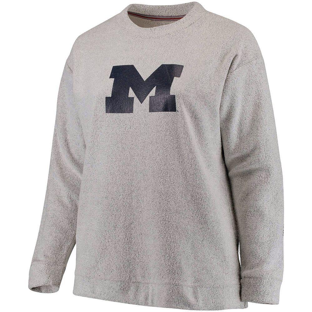 Women's Pressbox Ash Michigan Wolverines Plus Size Blume Comfy Terry Sweatshirt