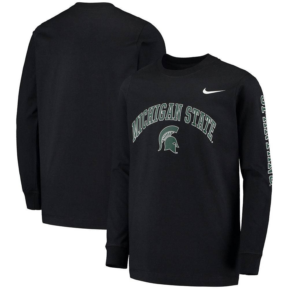 Youth Nike Black Michigan State Spartans Arch & Logo 2-Hit Long Sleeve T-Shirt