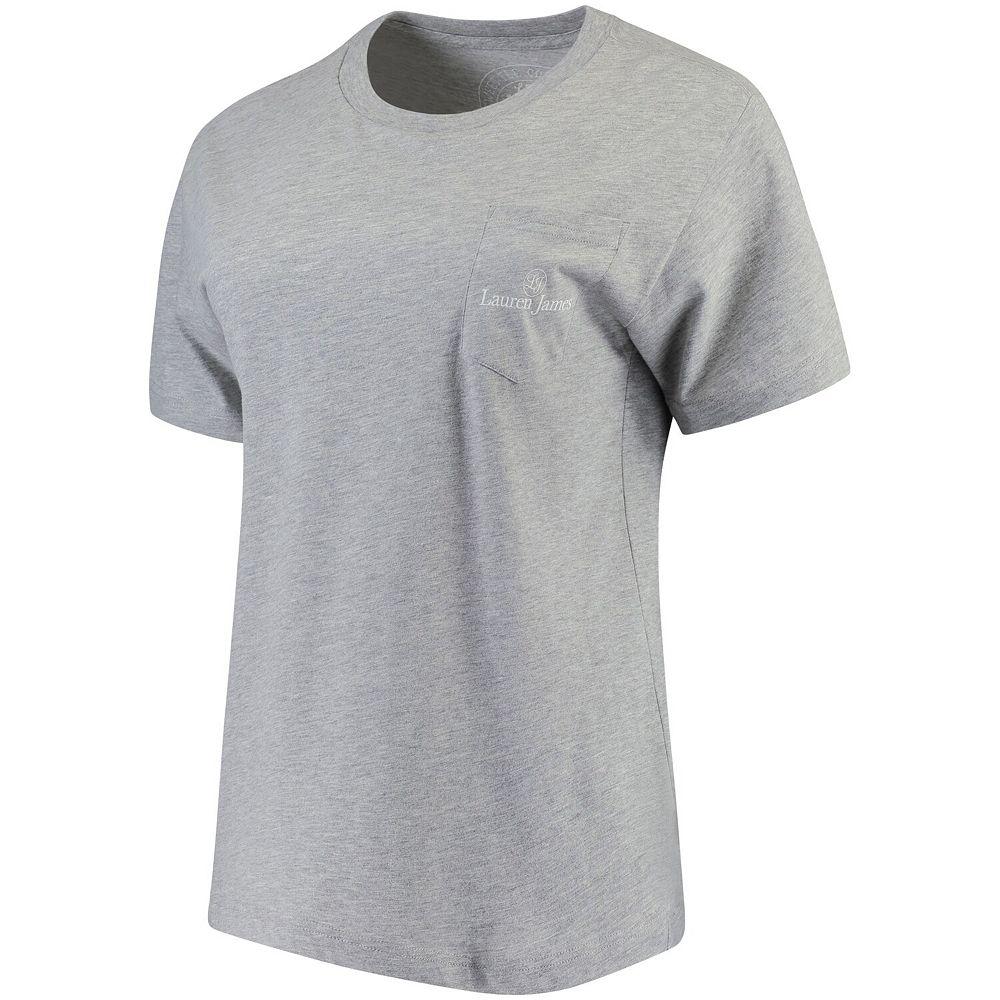 Women's Lauren James Heathered Gray Florida State Seminoles Oversized Classic Team Pocket T-Shirt