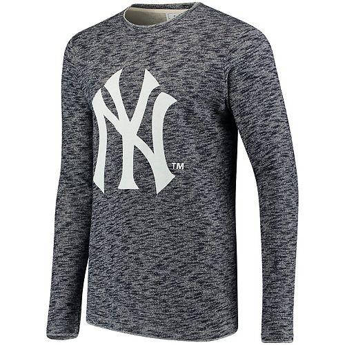 Men's Heathered Navy New York Yankees Heathered Crew Neck Sweater