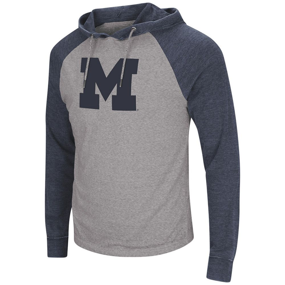 Men's Colosseum Gray/Navy Michigan Wolverines Personal Flair Tri-Blend Thermal Hoodie Long Sleeve T-Shirt