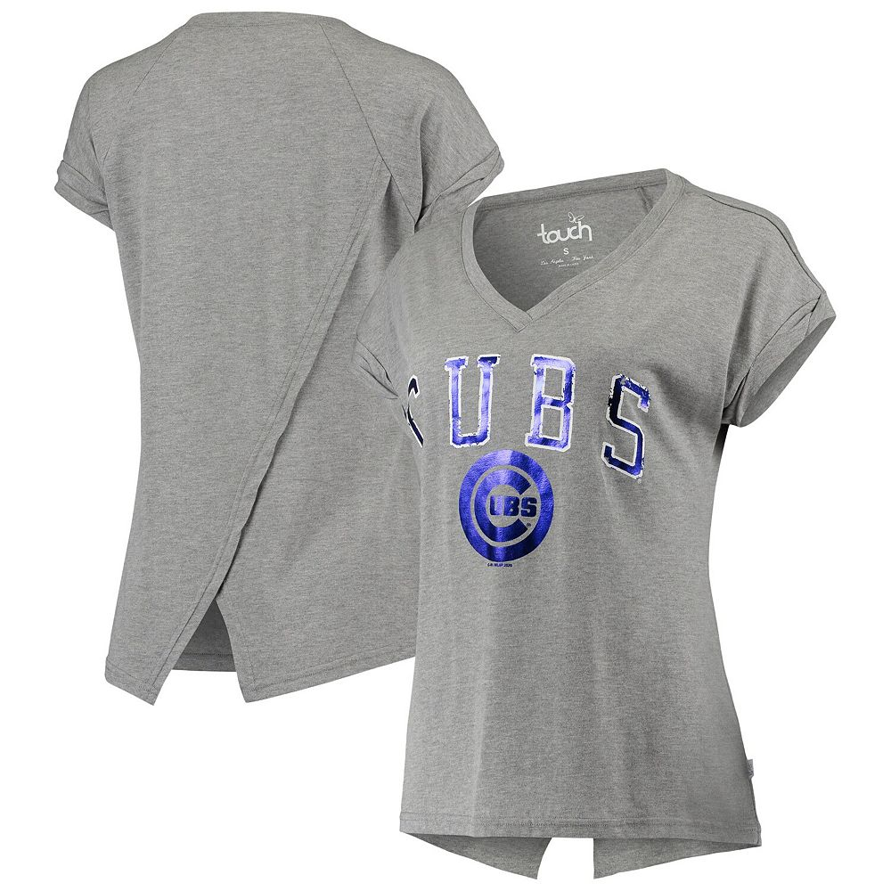 Women's Touch Gray Chicago Cubs Power Play V-Neck T-Shirt