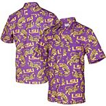 Men's Tellum and Chop Purple LSU Tigers Floral Button-Up Shirt