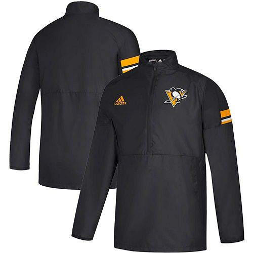 Men's adidas Black Pittsburgh Penguins Game Mode Quarter-Zip Pullover Jacket
