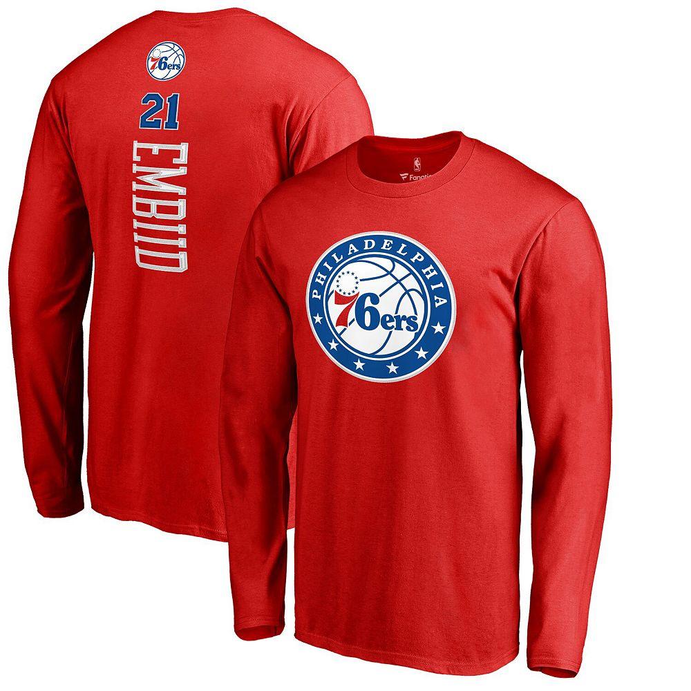 Men's Fanatics Branded Joel Embiid Red Philadelphia 76ers Backer 3 Name & Number Long Sleeve T-Shirt