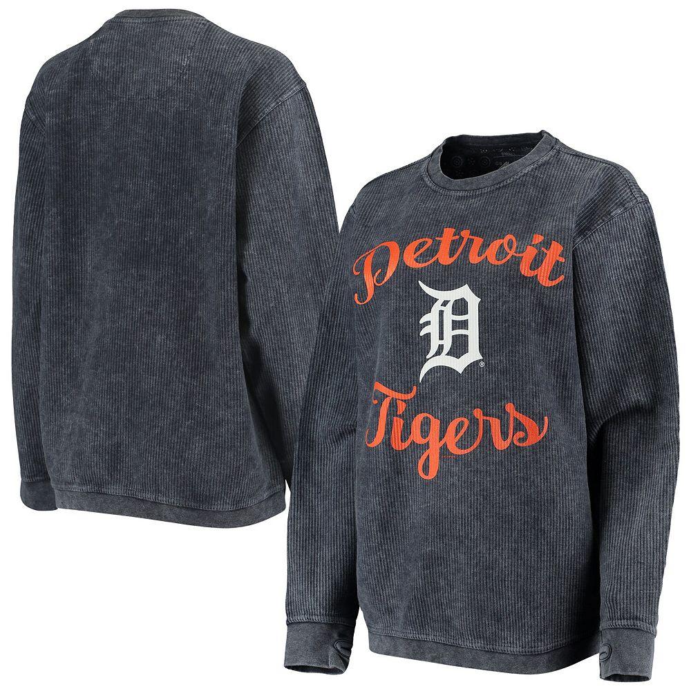 Women's G-III 4Her by Carl Banks Navy Detroit Tigers Script Comfy Cord Pullover Sweatshirt