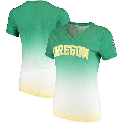 Women's Green Oregon Ducks Ombre V-Neck T-Shirt