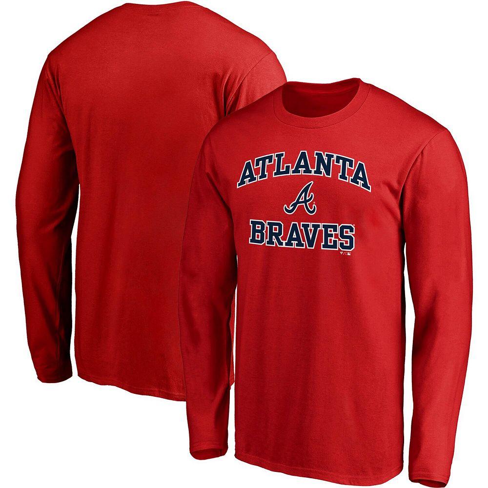 Men's Fanatics Branded Red Atlanta Braves Heart & Soul Long Sleeve T-Shirt