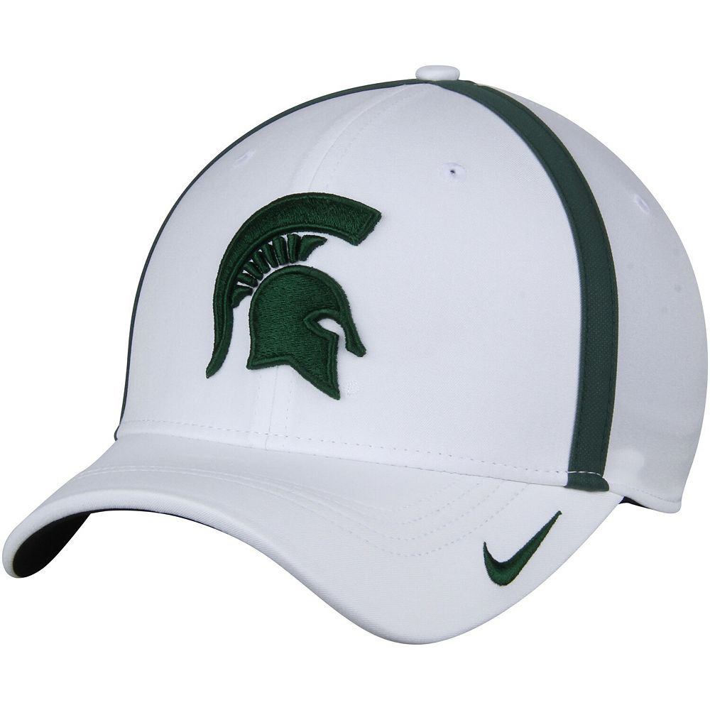 Men's Nike White Michigan State Spartans 2017 Sideline AeroBill Coaches Performance Adjustable Hat