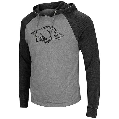 Men's Colosseum Gray/Black Arkansas Razorbacks Personal Flair Tri-Blend Thermal Hoodie Long Sleeve T-Shirt