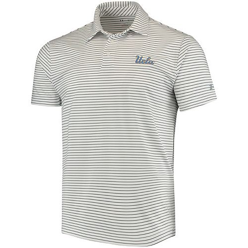 Men's Under Armour White UCLA Bruins Playoff Stripe Polo
