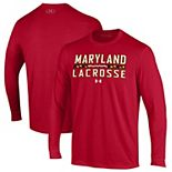Men's Under Armour Red Maryland Terrapins Lacrosse Stack Performance Long Sleeve T-Shirt