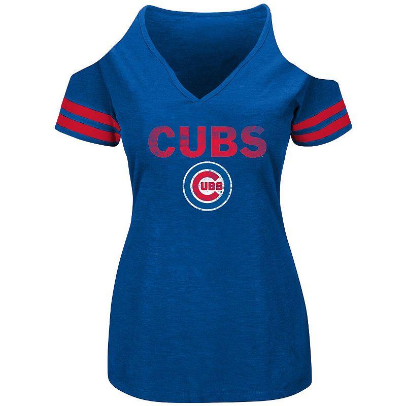 Women's Heathered Royal Chicago Cubs Plus Size Cold Shoulder T-Shirt, Size: 1XL, Blue
