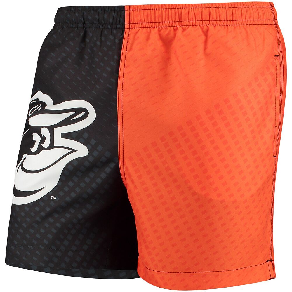Men's Black/Orange Baltimore Orioles Color Block Swim Trunks