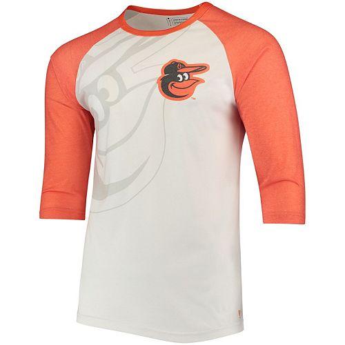 Men's White/Orange Baltimore Orioles Baseball 3/4-Sleeve Raglan T-Shirt