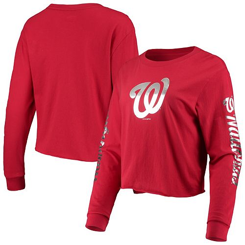 Women's New Era Red Washington Nationals Baby Jersey Long Sleeve Cropped T-Shirt