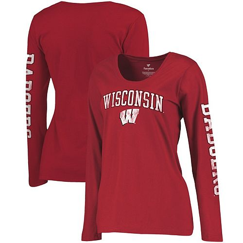 Women's Fanatics Branded Red Wisconsin Badgers Primary Distressed Arch Over Logo Long Sleeve Hit T-Shirt