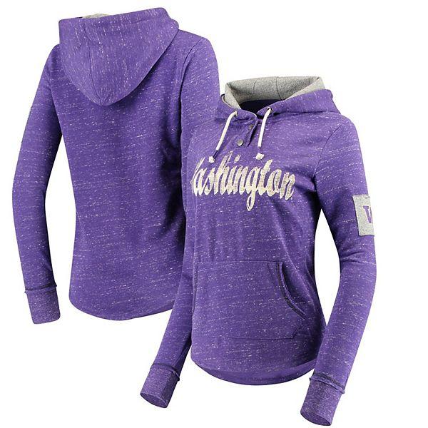 Women's Colosseum Heathered Purple Washington Huskies Double Fleece Pullover Henley Hoodie