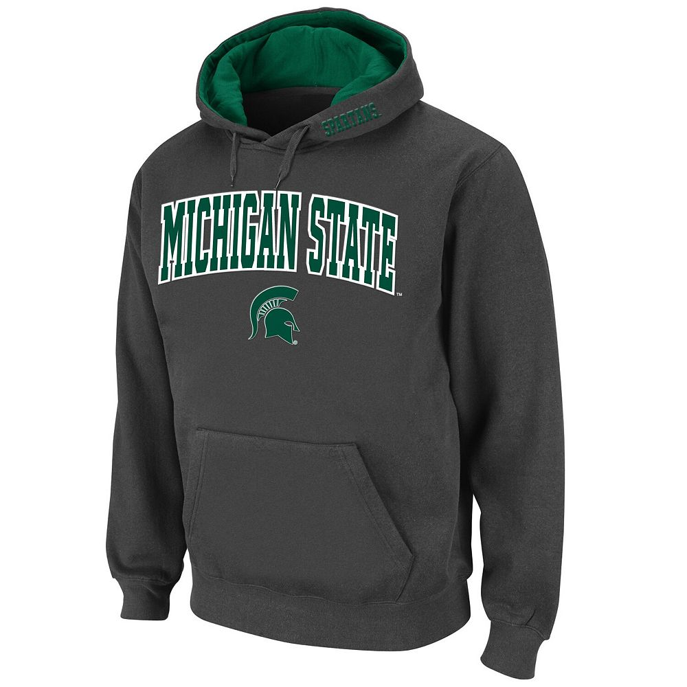 Men's Stadium Athletic Charcoal Michigan State Spartans Arch & Logo Pullover Hoodie