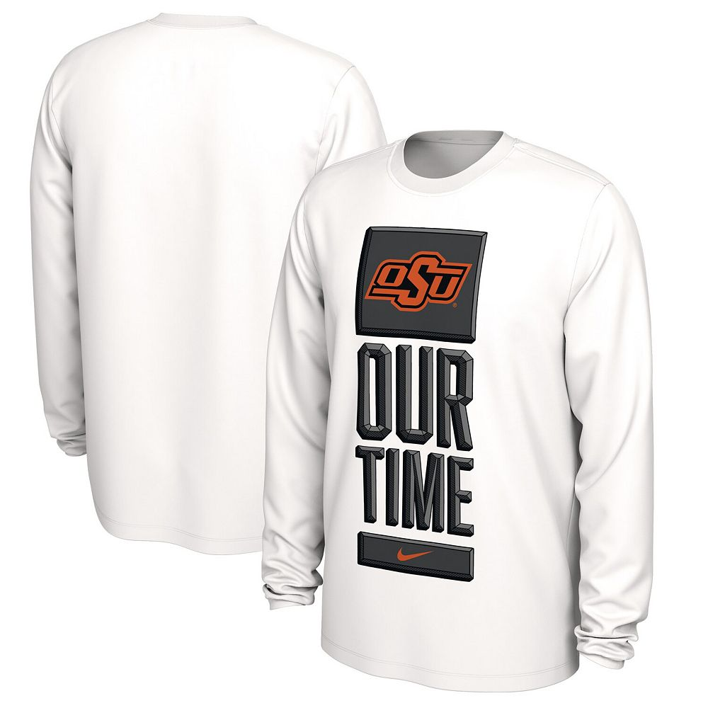 Men's Nike White Oklahoma State Cowboys Basketball Our Time Bench Legend Performance Long Sleeve T-Shirt