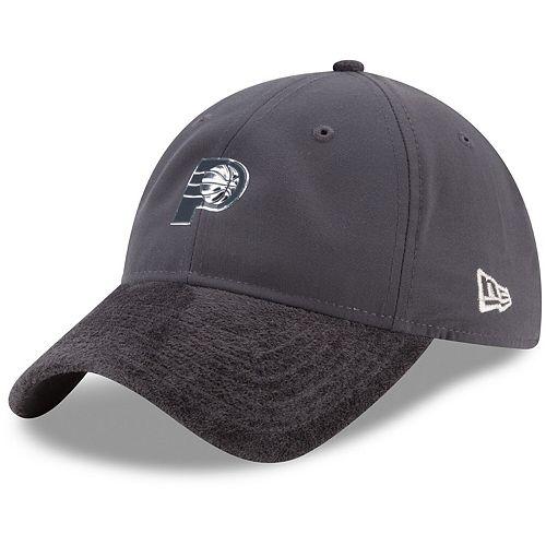 Men's New Era Graphite Indiana Pacers On-Court Silver Logo 9TWENTY Adjustable Hat
