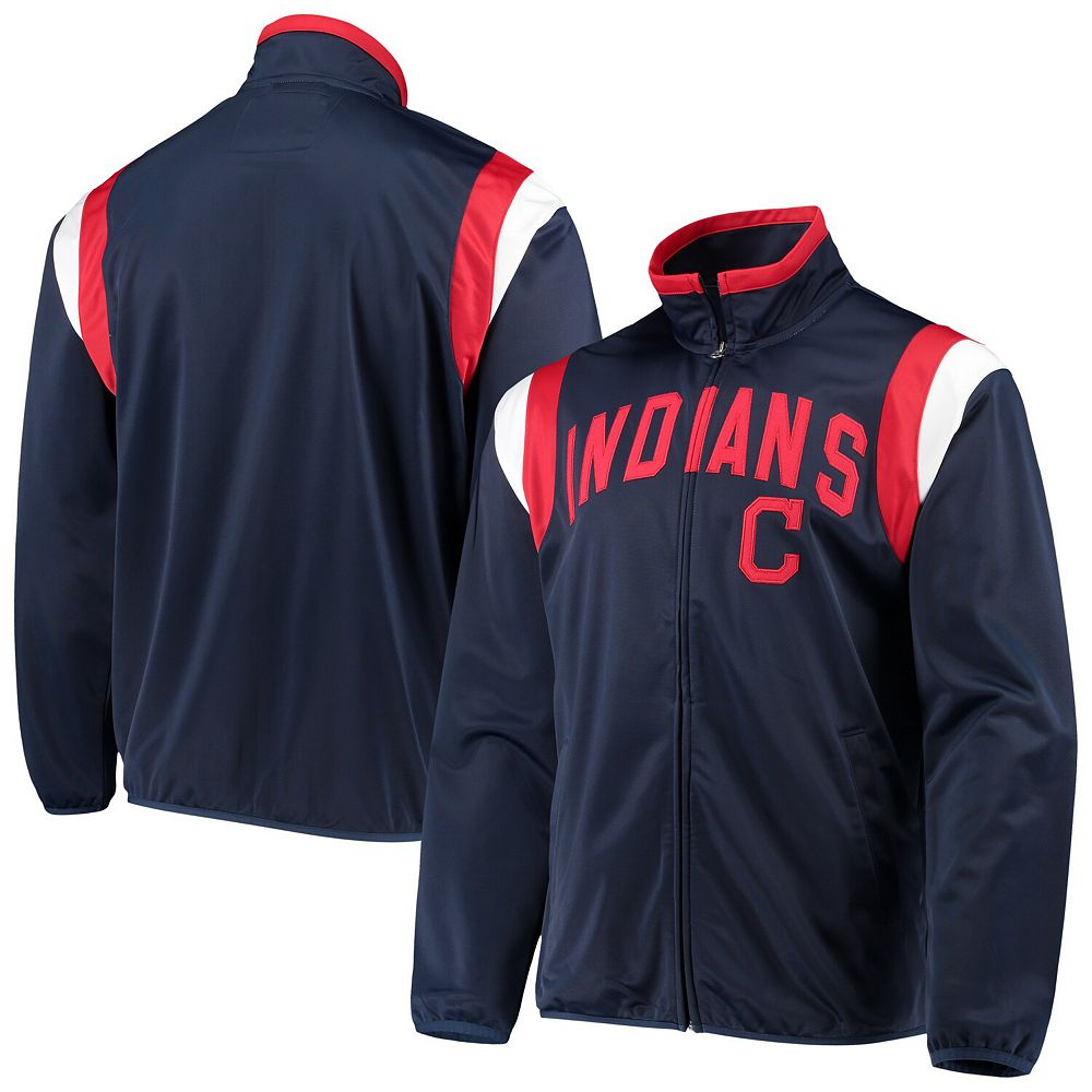 Men's G-III Sports by Carl Banks Navy Cleveland Indians Post Up Full-Zip Track Jacket