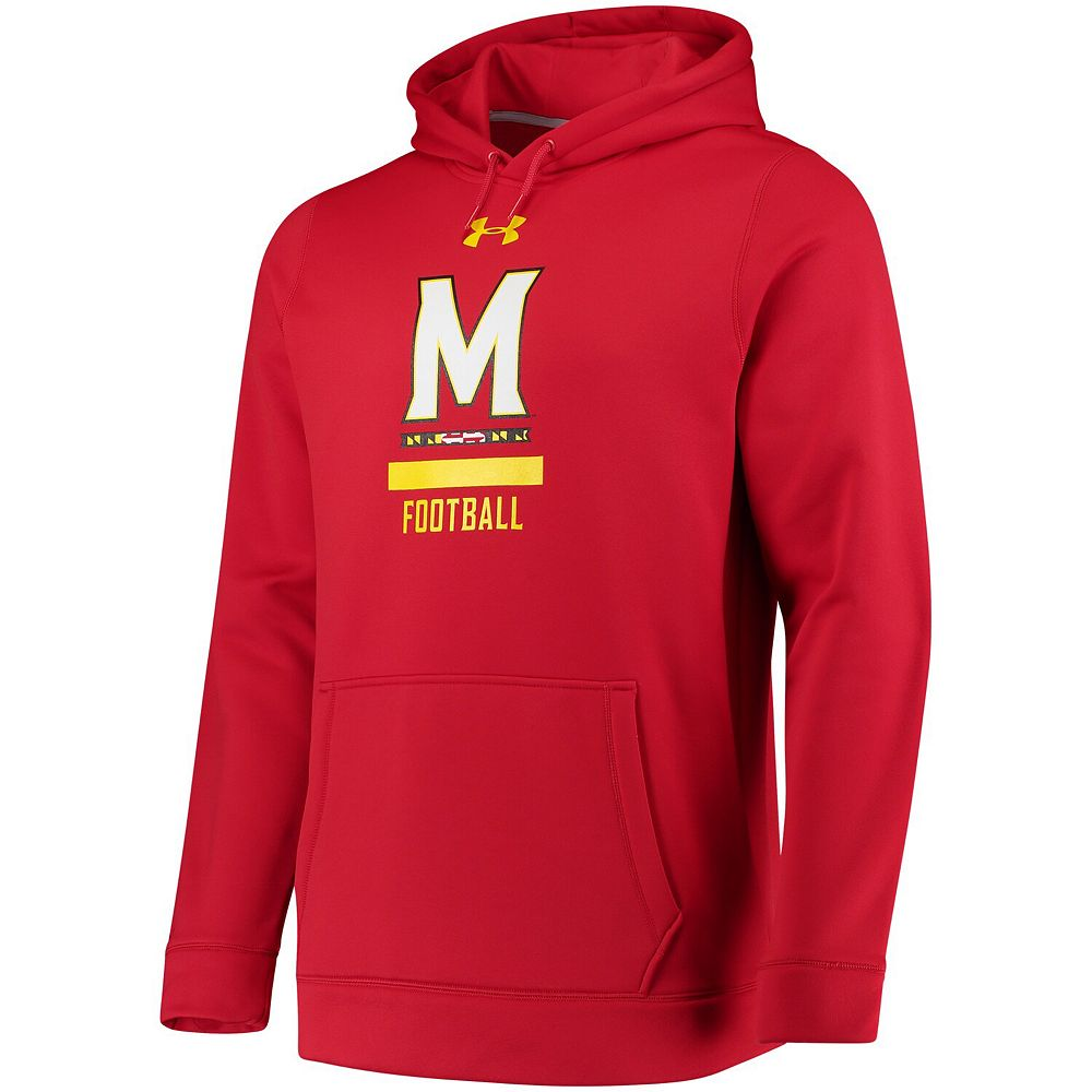 Men's Under Armour Red Maryland Terrapins Football Sideline Performance Pullover Hoodie