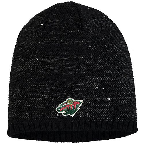Women's adidas Black Minnesota Wild Sequin Knit Beanie