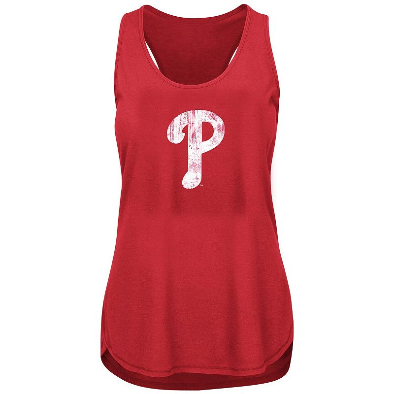 Women's Heathered Red Philadelphia Phillies Plus Size Racerback Tank Top, Size: 2XL