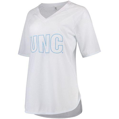 Women's ZooZatz White North Carolina Tar Heels End Zone Mesh Oversized V-Neck Tunic T-Shirt
