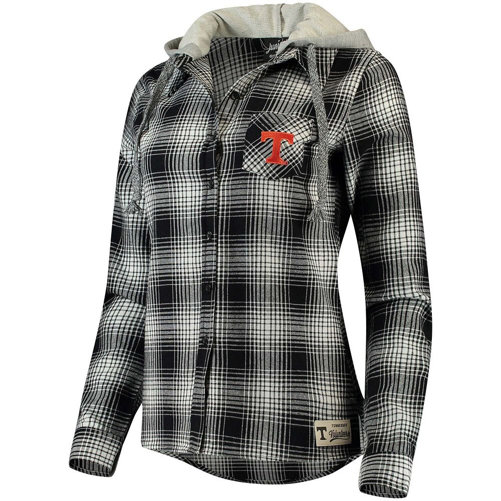 Juniors' Black Tennessee Volunteers Dream Plaid Button-Front Hooded Shirt
