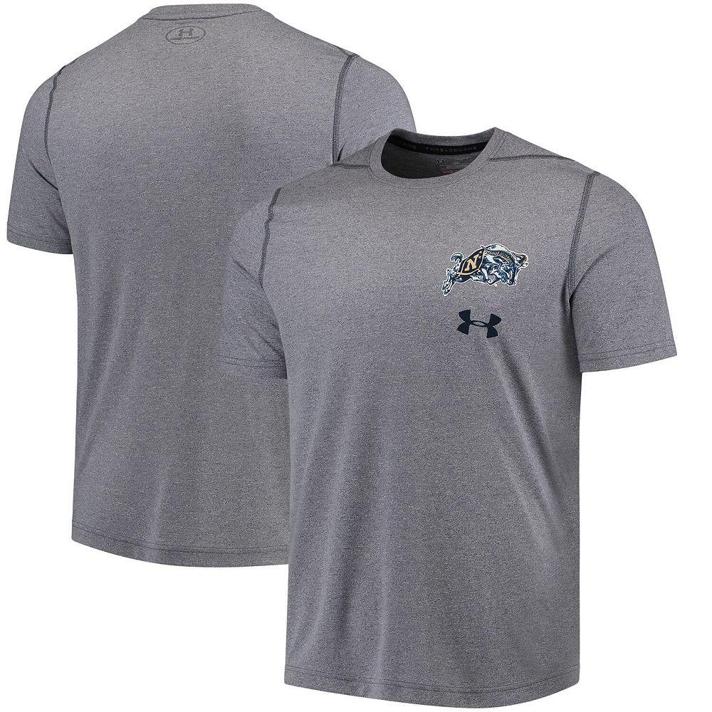 Men's Under Armour Gray Navy Midshipmen Threadborne Left Chest Logo Performance T-Shirt