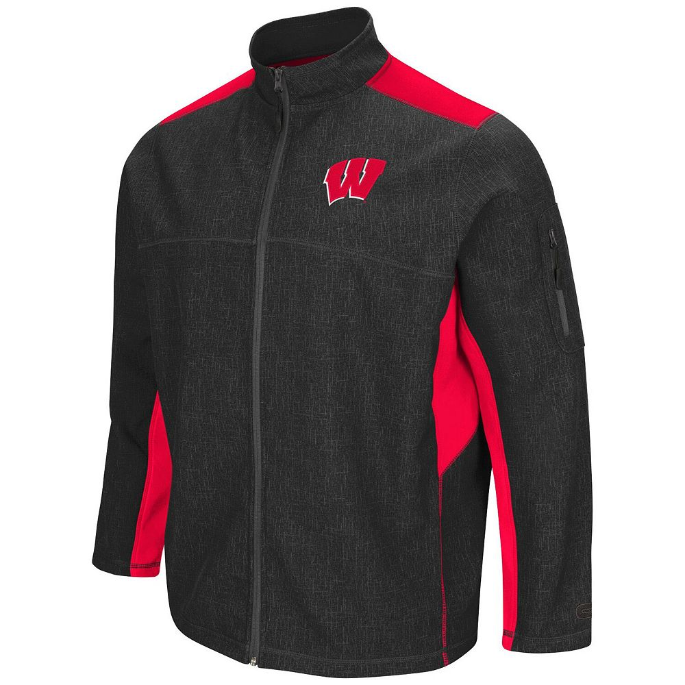 Men's Colosseum Charcoal/Red Wisconsin Badgers Big & Tall Acceptor Full-Zip Jacket