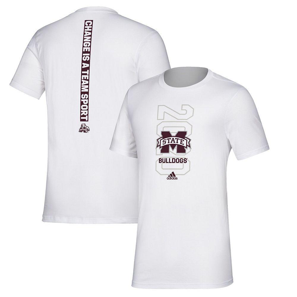 Men's adidas White Mississippi State Bulldogs Basketball Bench T-Shirt