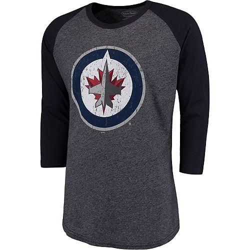 Men's Majestic Threads Navy Winnipeg Jets Tri-Blend 3/4-Sleeve Raglan T-Shirt