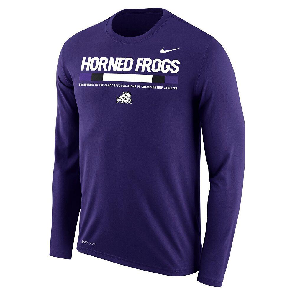 Men's Nike Purple TCU Horned Frogs Sideline Staff Long Sleeve Dri-FIT Legend Long Sleeve T-Shirt
