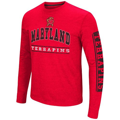 Men's Colosseum Red Maryland Terrapins Big & Tall Sky Box Long Sleeve T-Shirt