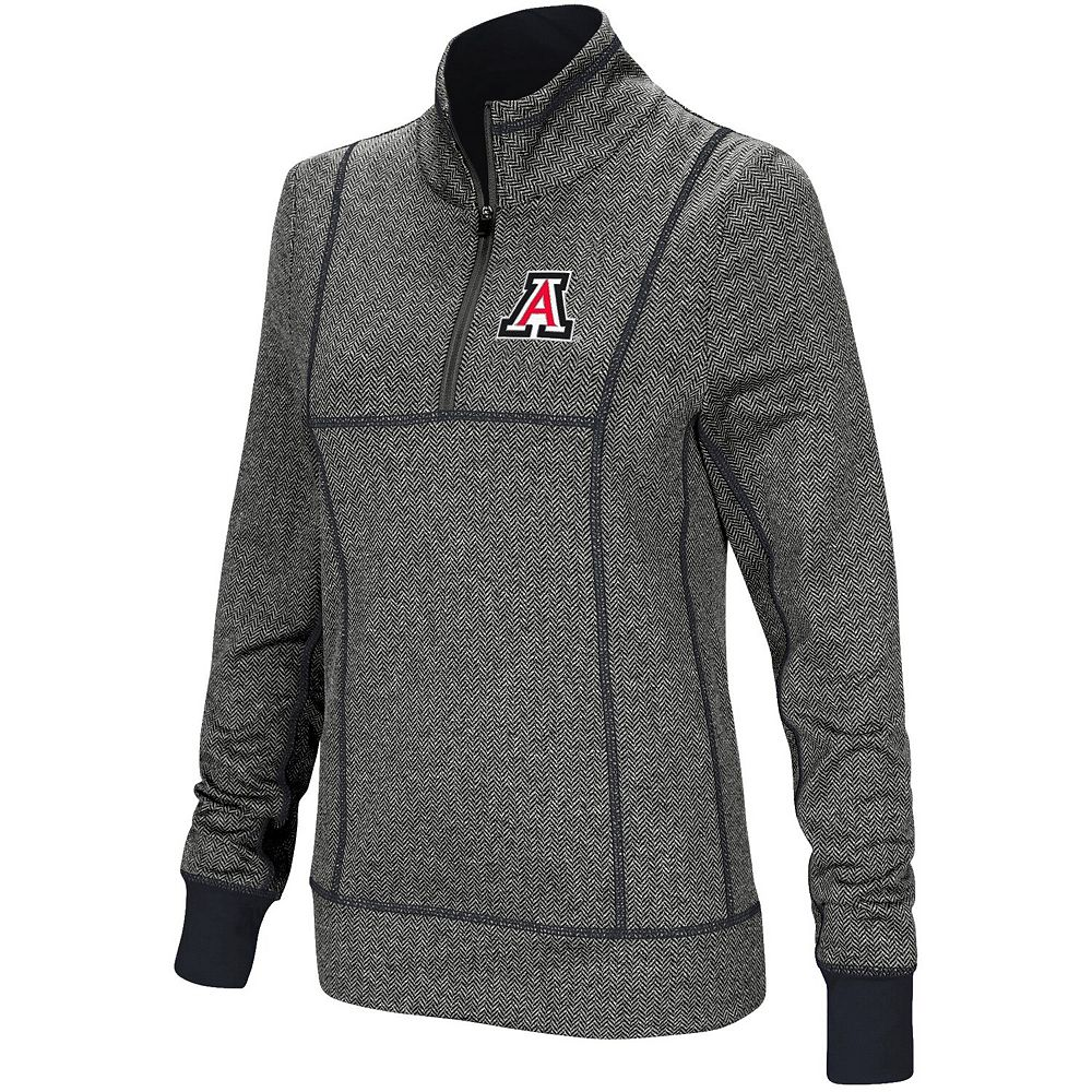 Women's Colosseum Charcoal Arizona Wildcats Herringbone Print Quarter-Zip Pullover Jacket