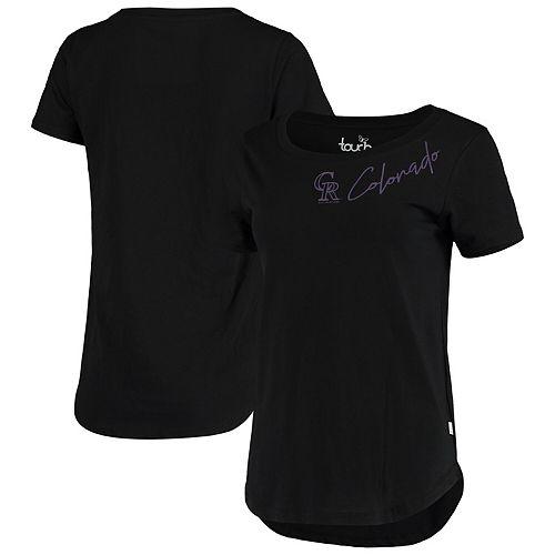 Women's Touch Black Colorado Rockies Starting Lineup Tri-Blend Scoop Neck T-Shirt