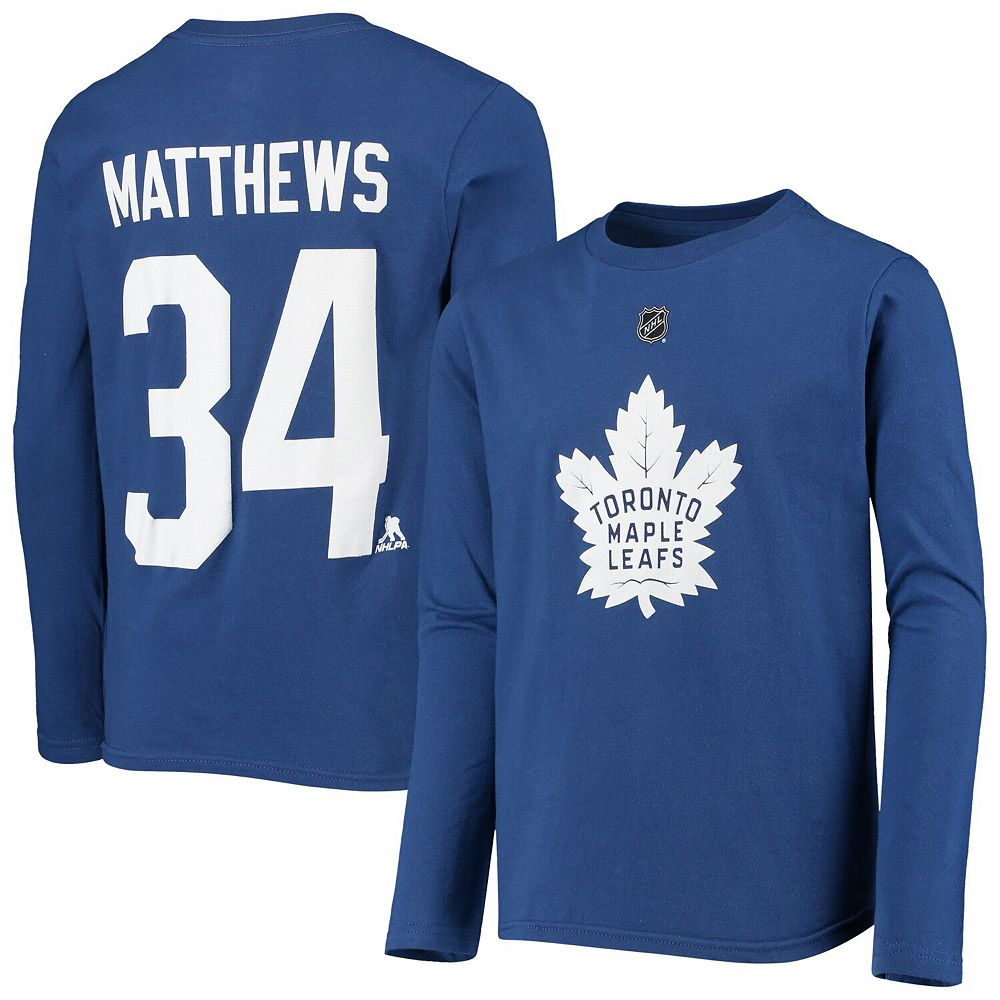 Youth Auston Matthews Blue Toronto Maple Leafs Authentic Stack Long Sleeve Name & Number T-Shirt