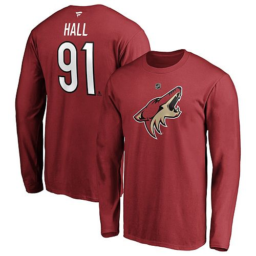 Men's Fanatics Branded Taylor Hall Garnet Arizona Coyotes Authentic Stack Name & Number Long Sleeve T-Shirt