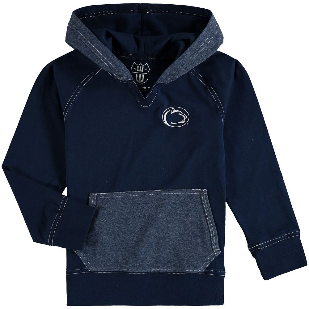 Girls Toddler Wes & Willy Navy Penn State Nittany Lions Heathered Block Pullover Hoodie