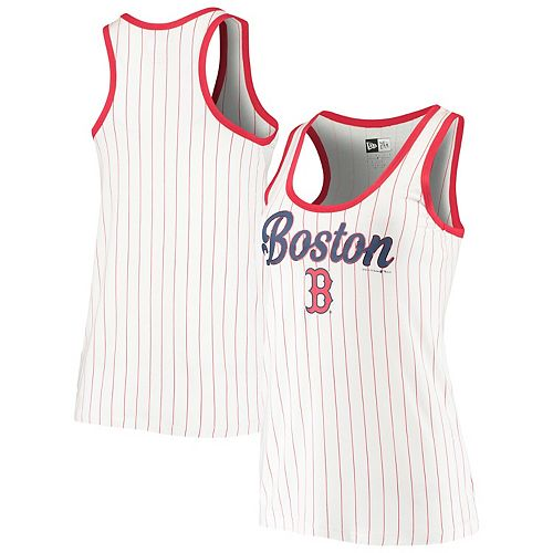 Women's New Era White/Red Boston Red Sox Pinstripe Jersey Tank Top