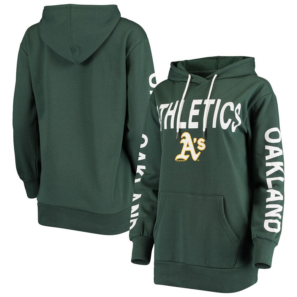 Women's G-III 4Her by Carl Banks Green Oakland Athletics Extra Inning Colorblock Pullover Hoodie