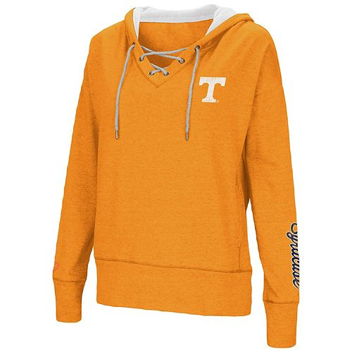 Women's Colosseum Tennessee Orange Tennessee Volunteers Rhymes Lace-Up Pullover V-Neck Hoodie